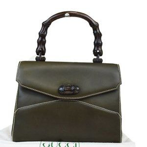 GUCCI Logo Bamboo Hand Bag Leather Wood Khaki Mad